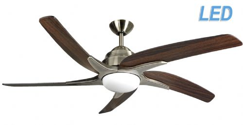"Fantasia Elite Viper Plus 54"" Ant' Brass + Dark Oak Blades Ceiling Fan + Remote +  LED Light 116097"